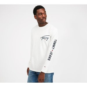 Tommy Jeans Logo Long Sleeve T-shirt - White - Size - M 40280104