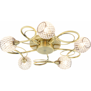 Happy Homewares Antique Brass Effect Semi Flush Ceiling Light With Clear Bead Shades 33w 5 Light By Happy  HA003062 Lighting, Antique Brass