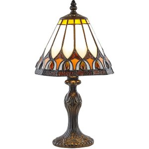 Art Deco Tiffany Glass Table Lamp With Amber Shade By Happy Homewares HA1110 AM HA1110 AM Lighting