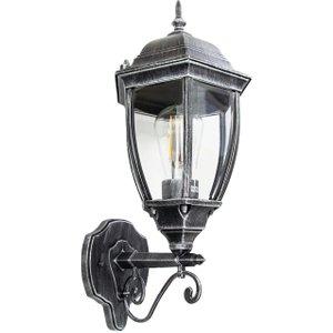 Happy Homewares Classic Black/silver Die-cast Aluminium Outdoor Ip44 Wall Lantern Light Fixture By Happy H Hh702 Bksi Wall Hh702 Bksi Wall, Black/Silver