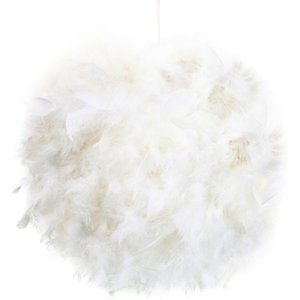 Happy Homewares Contemporary And Unique Large White Real Feather Decorated Pendant Light Shade By Happy Ho HH071 WHITE HH071 WHITE Lighting, White