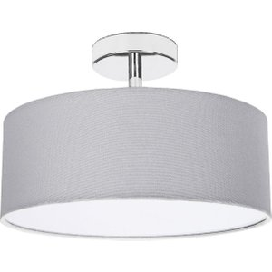 Happy Homewares Contemporary Grey Linen Fabric Semi Flush Ceiling Light Fitting With Diffuser By Happy Hom Hh800 Sf Grey Hh800 Sf Grey Lighting, Grey