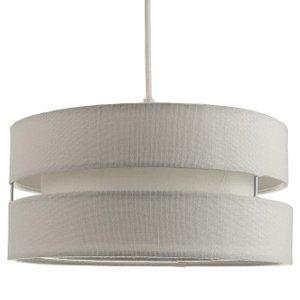 Happy Homewares Contemporary Quality Grey Linen Fabric Triple Tier Ceiling Pendant Light Shade By Happy Ho HH097 GREY HH097 GREY Lighting, Grey