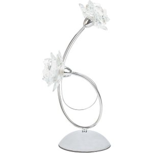 Happy Homewares Designer Modern Polished Chrome Metal Table Lamp With Floral Glass Shades By Happy Homewar HH5552 CH HH5552 CH Lighting