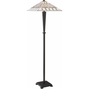 Floor Light - Tiffany Style Glass & Dark Bronze Paint With Highlights By Happy Homewares Multi coloured HA003812 Lighting, Multi-coloured