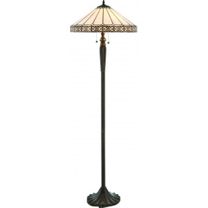 Floor Light - Tiffany Style Glass & Dark Bronze Paint With Highlights By Happy Homewares Multi coloured HA003922 Lighting, Multi-coloured