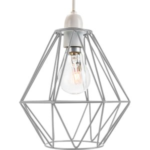 Happy Homewares Industrial Basket Cage Designed Matt Grey Metal Ceiling Pendant Light Shade By Happy Homew Hh724 Grey Hh724 Grey, Grey