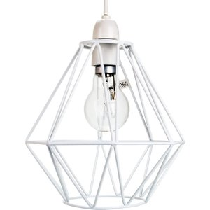 Happy Homewares Industrial Basket Cage Designed Matt White Metal Ceiling Pendant Light Shade By Happy Home HH724 WHITE HH724 WHITE Lighting, White
