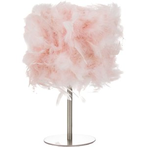Happy Homewares Modern And Chic Real Pink Feather Table Lamp With Satin Nickel Base And Switch By Happy Ho HH399 PINK HH399 PINK Lighting