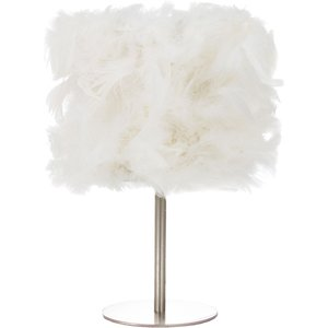 Happy Homewares Modern And Chic Real White Feather Table Lamp With Satin Nickel Base And Switch By Happy H HH399 WHITE HH399 WHITE Lighting