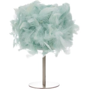 Happy Homewares Modern And Real Duck Egg Feather Table Lamp With Satin Nickel Base And Switch By Happy Hom Blue HH399 DUCKEGG HH399 DUCKEGG Lighting