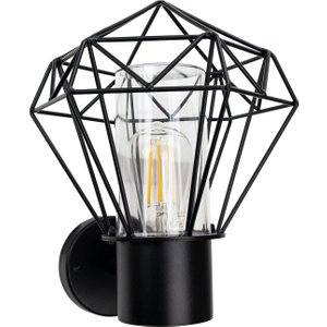 Happy Homewares Modern And Trendy Ip44 Outdoor Cage Wall Light In Matt Black With Clear Shade By Happy Hom Hh993 Black Wl Hh993 Black Wl, Black
