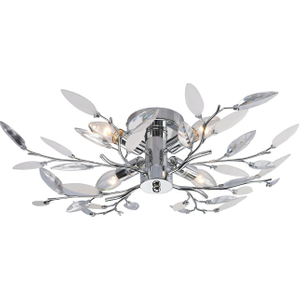 Modern Birch Semi Flush Ceiling Light With Clear & White Leaves By Happy Homewares Chrome WILL4PCWC Lighting, Chrome