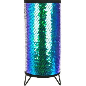Happy Homewares Modern Designer Emerald Blue And Black Shiny Sequin Table Lamp With Metal Feet By Happy Ho Hh212 Black/emerald Hh212 Black/emerald