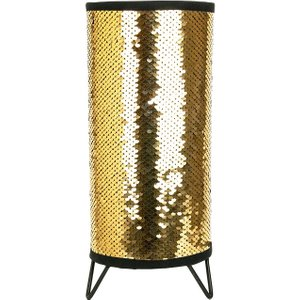 Happy Homewares Modern Designer Gold And Black Shiny Sequin Table Lamp With Tripod Metal Feet By Happy Hom HH212 GOLD/BLACK HH212 GOLD/BLACK Lighting
