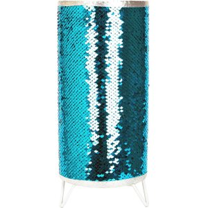 Happy Homewares Modern Designer Teal And Silver Shiny Sequin Table Lamp With Tripod Metal Feet By Happy Ho HH212 TEAL HH212 TEAL Lighting