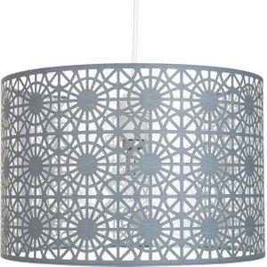 Happy Homewares Modern Grey Fabric Geometric Design Easy Fit Ceiling Pendant Light Drum Shade By Happy Hom HH939 GREY HH939 GREY Lighting, Grey