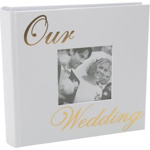 Happy Homewares Modern White Wedding Day Photo Album With Gold Foil Text - Holds 80 4x6 Pictures By Happy  HH820 WA HH820 WA Wedding Gifts, White