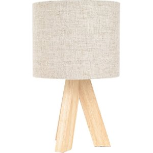 Happy Homewares Small Rubber Brown Wood Tripod Table Lamp With Natural Linen Oatmeal Shade By Happy Homewa Hh6710 Lighting