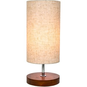 Happy Homewares Traditional And Classic Round Wooden Table Lamp With Oatmeal Linen Fabric Shade By Happy H Brown HH515 ROUND HH515 ROUND Lighting