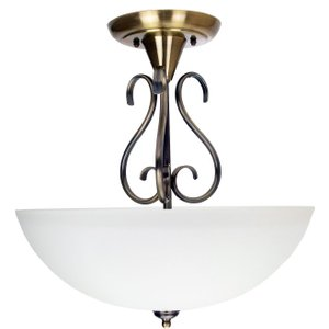 Happy Homewares Traditional Ornate Semi Flush Ceiling Light In Antique Brass With Glass Shade By Happy Hom Hh733 Ab Hh733 Ab, Antique Brass