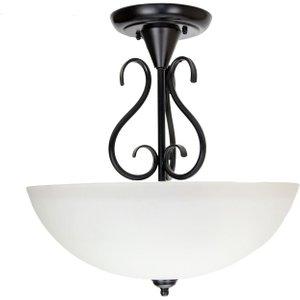 Happy Homewares Traditional Ornate Semi Flush Ceiling Light In Matt Black With White Glass Shade By Happy  HH733 BK HH733 BK Lighting, Black