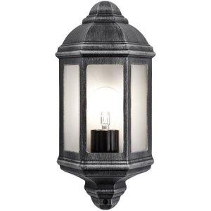 Happy Homewares Traditional Outdoor Black/silver Cast Aluminium Flush Wall Lantern Light Fitting By Happy  Ha7871bs, Black/Silver