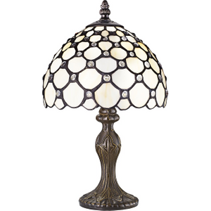 Traditional White Tiffany Table Lamp With Multiple Transparent Beads By Happy Homewares HA3119 CL HA3119 CL Lighting, White