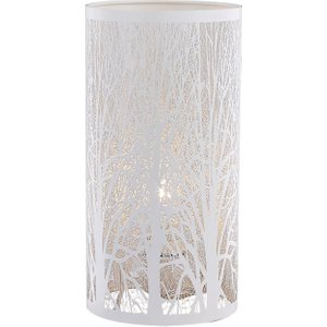 Happy Homewares Unique And Beautiful Matt White Metal Forest Design Table Lamp With Cable Switch By Happy  HH772 WH HH772 WH Lighting