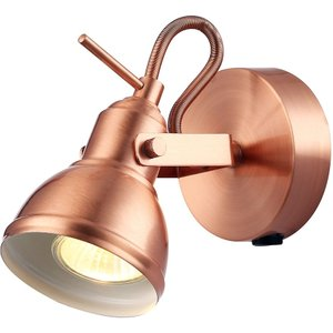 Unique Industrial Designed Brushed Copper Switched Wall Spot Light By Happy Homewares Ha1541co, Copper