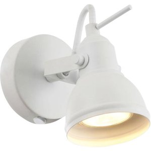 Unique Industrial Designed Matt White Switched Wall Spot Light By Happy Homewares Ha1541wh, White