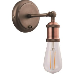 Happy Homewares Vintage And Industrial Aged Copper Wall Light Fitting With Toggle Switch Button By Happy H Hh8812 Lighting, Copper