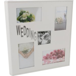 Happy Homewares White Faux Leather Wedding Photo Album With Silver Foil Text Holds 200 Pictures By Happy H Hh902 Wa Hh902 Wa Wedding Gifts, White