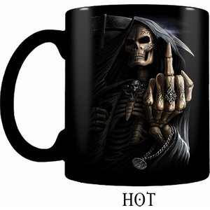 Spiral Bone Finger Heat Change Ceramic Coffee Mug - Gift Boxed Black M005a007 0, Black