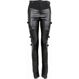 Spiral Gothic Rock Biker Pvc Panel Buckle Trousers Black P002g461 7, Black