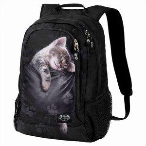 Spiral Pocket Kitten Back Pack - With Laptop Pocket Black F052a308 0, Black