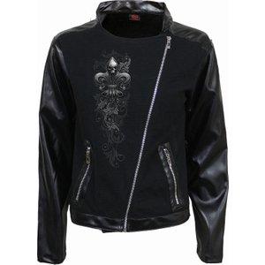 Spiral Skull Scroll Pique Biker Jacket With Pu Leather Sleeves Black D089g407 6, Black
