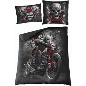 Spiral Skulls N' Roses Double Duvet Cover + Uk And Eu Pillow Case Black E024a510 0