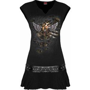Spiral Steam Punk Ripped Stud Waist Mini Dress Black T170f108 3, Black