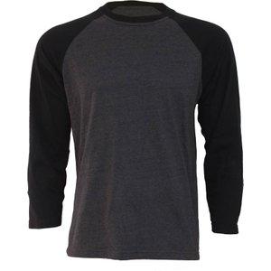 Spiral Urban Fashion Raglan Contrast Longsleeve Black Charcoal Black & Grey P004m315 4, Black & Grey