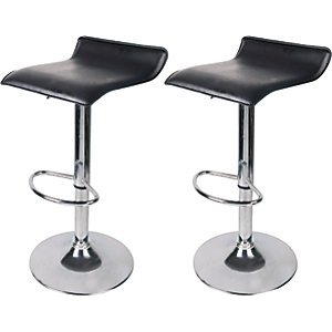 Wickes Black & Chrome Effect Bar Stools - Pack Of 2