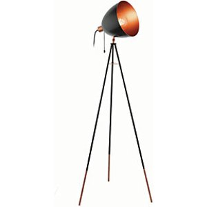 Eglo Chester Tripod Single Light Floor Lamp Black & Copper - 60w E27