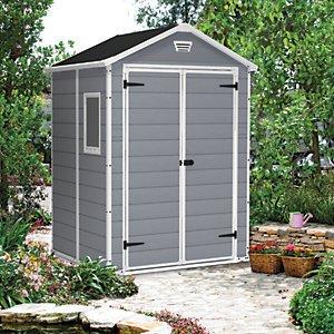 Keter Manor Double Door Plastic Shed Grey - 6 X 5 Ft