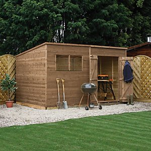 Mercia 12 X 7 Ft Pressure Treated Pent Shed With Assembly
