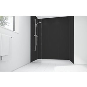 Mermaid Black Matt Acrylic 3 Sided Shower Panel Kit 1700mm X 900mm