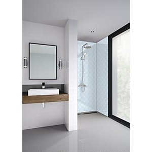Wickes Mermaid Blue Florals Acrylic 3 Sided Shower Panel Kit - 1200 X 900mm