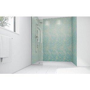 Mermaid Blue Reef Gloss Laminate 3 Sided Shower Panel Kit 1700mm X 900mm