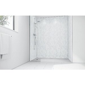 Mermaid Feather Marble Gloss Laminate 3 Sided Shower Panel Kit 1200mm X 900mm