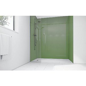 Mermaid Forest Green Acrylic 3 Sided Shower Panel Kit 1700mm X 900mm