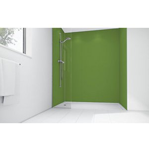 Mermaid Forest Green Matt Acrylic 3 Sided Shower Panel Kit 1200mm X 900mm
